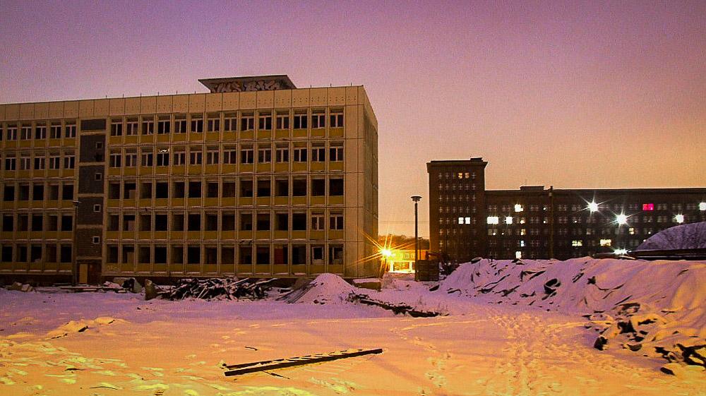 Das Gelände des Funkhauses Berlin im Januar 2014. Links Block E, in dem in der 5. Etage DT64 untergebracht war, rechts Block A. | Foto: © Kai Ludwig