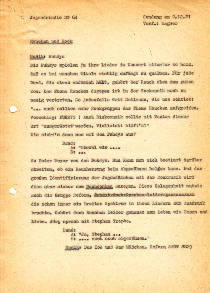 Manuskript mit  Moderationsvorschlag
