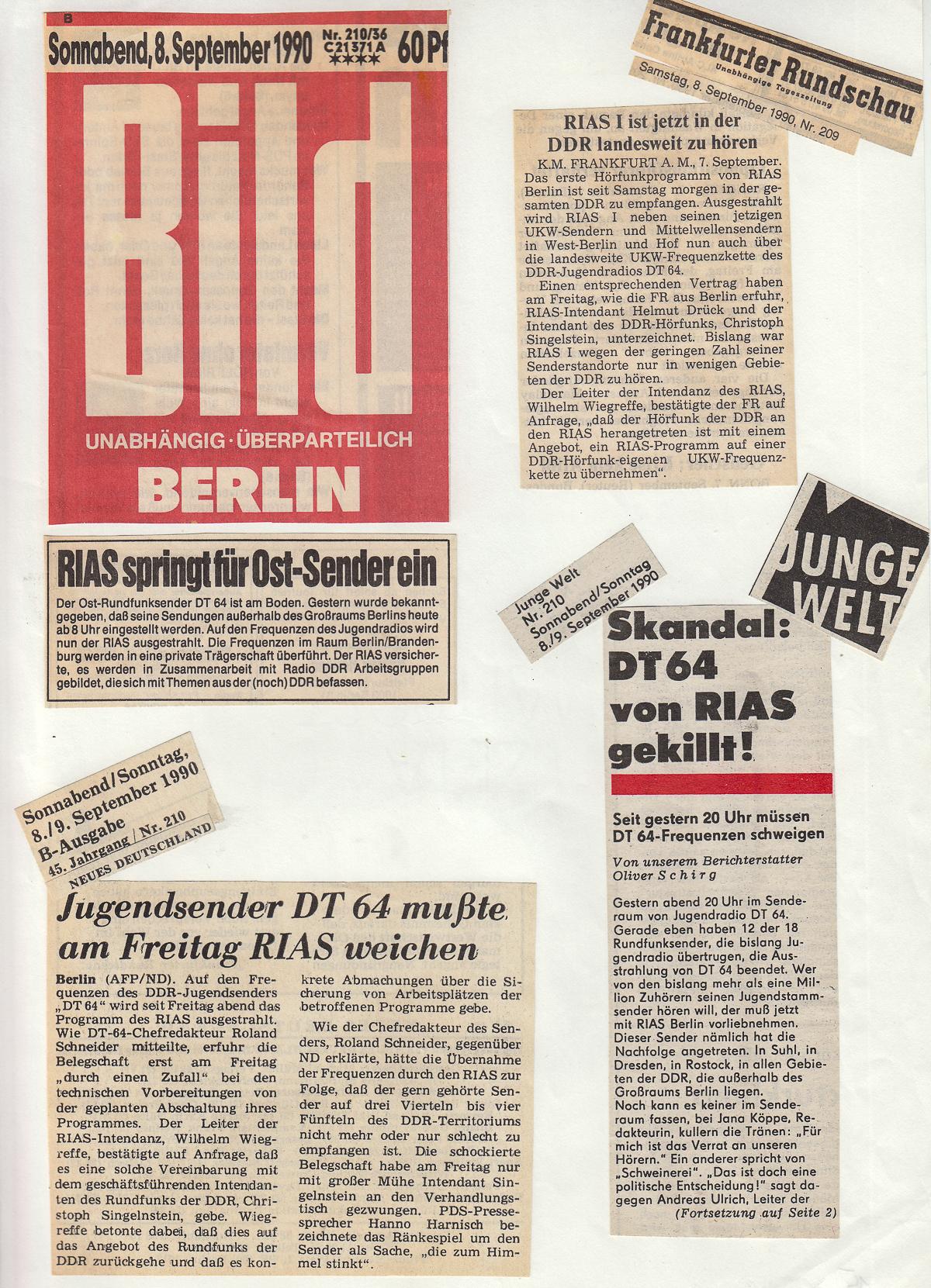 Tageszeitungen am Morgen danach (08.09.1990)