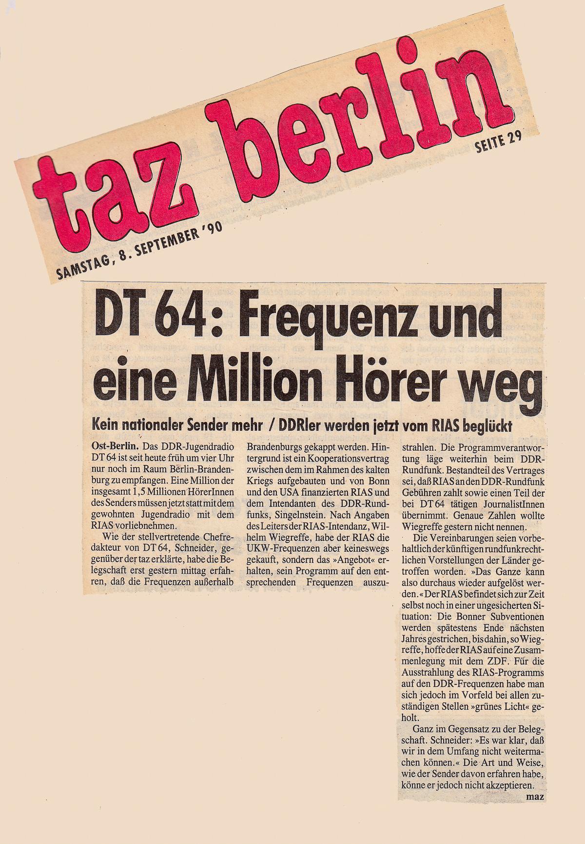 """die tageszeitung """"taz"""", 08.09.1990"""