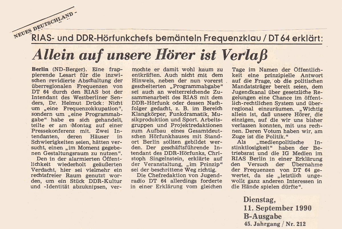Neues Deutschland, 11.09.1990
