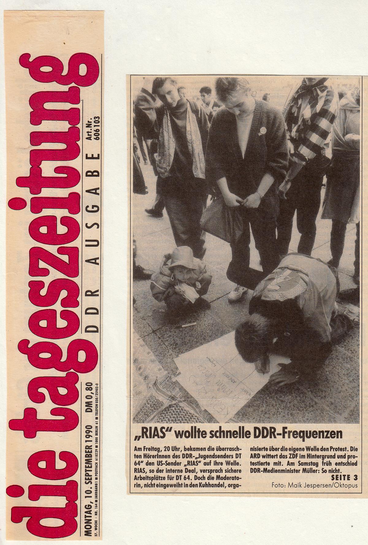 """Die tageszeitung """"taz"""", 10.09.1990"""